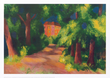 Reprodukce - Expresionismus - Rotes Haus im Park, August Macke