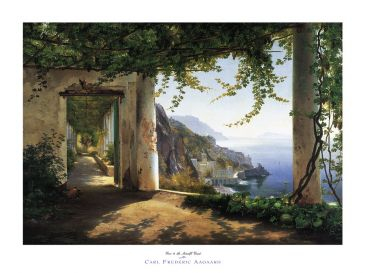 Reprodukce - Krajinky - View to the Amalfi coast, Carl Frederic Aagaard
